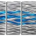 Statements2000 Aqua Blue / Silver Modern Abstract Metal Wall Art Painting by Jon Allen - Caliente Aqua - Thumbnail 3