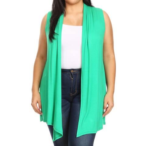 Women's Plus Size Loose Solid Sweater Cardigan Vest