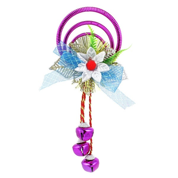 Unique Bargains Plastic Rings Metal Bell Pendant Purple for Indoor Christmas Tree Hanging Decor