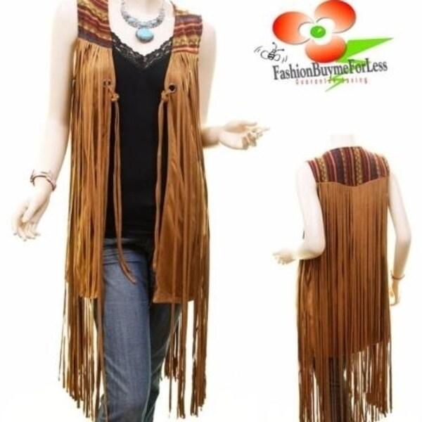 c8e34a969 Shop Boho Western Vintage Hippy Faux Suede Leather Fringe Camel Vest ...