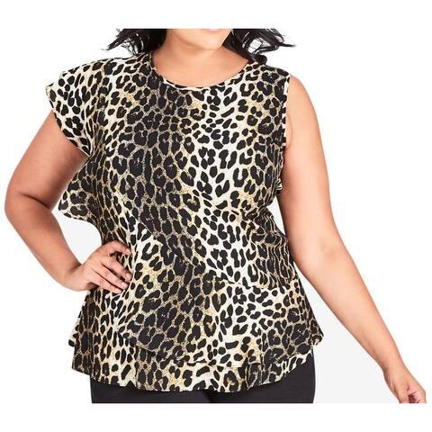 City Chic Womens Blouse Brown Size 14 Plus Leopard Print Flutter Sleeve