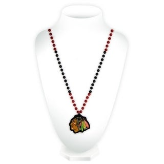 Chicago Blackhawks Mardi Gras Beads with Medallion