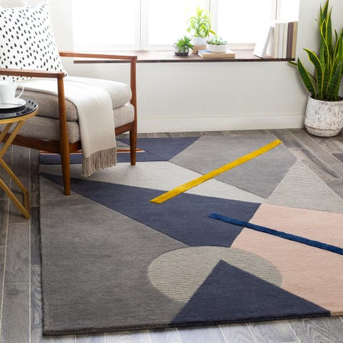 Take Five Modern Wool/Viscose Handmade Area Rug