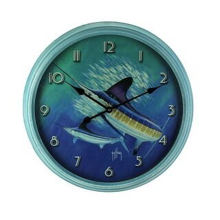 Guy Harvey Blue Sailfish Beveled Frame Round Wall Clock 24 inch