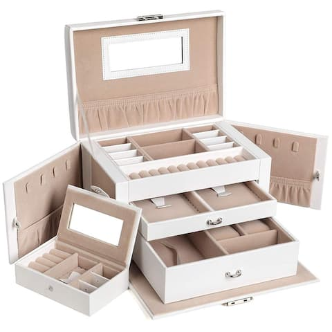 Jewellery Box, Jewellery Organiser with 2 Drawers, Lockable Jewellery Case with Mirror, Portable Travel Case W