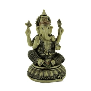 Lord Ganesha On Lotus Flower Statue - 9.25 X 5.5 X 5.5 inches