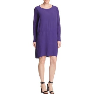 Eileen Fisher Womens Plus Casual Dress Georgette Crepe Shift