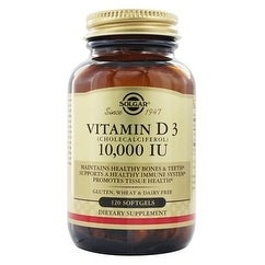 Solgar - Vitamin D3 (Cholecalciferol) 10,000 IU Softgels 120 Count, Supports The Bone Muscle And The Immune System