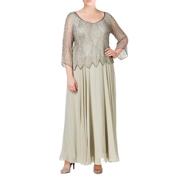 Shop J Kara Plus Size Embellished 3/4 Sleeve A-Line Evening ...