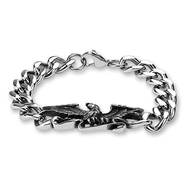 """Flying Eagle Center Stainless Steel Chain Bracelet - 8.5"""" (Sold Ind.)"""