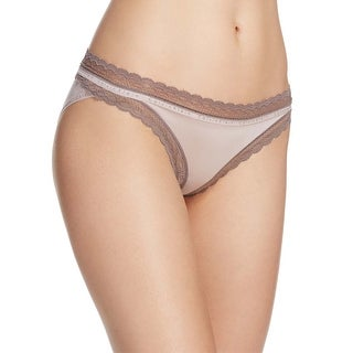 Calvin Klein Womens Taupe Signature Lace Trim Bikini Underwear Medium M
