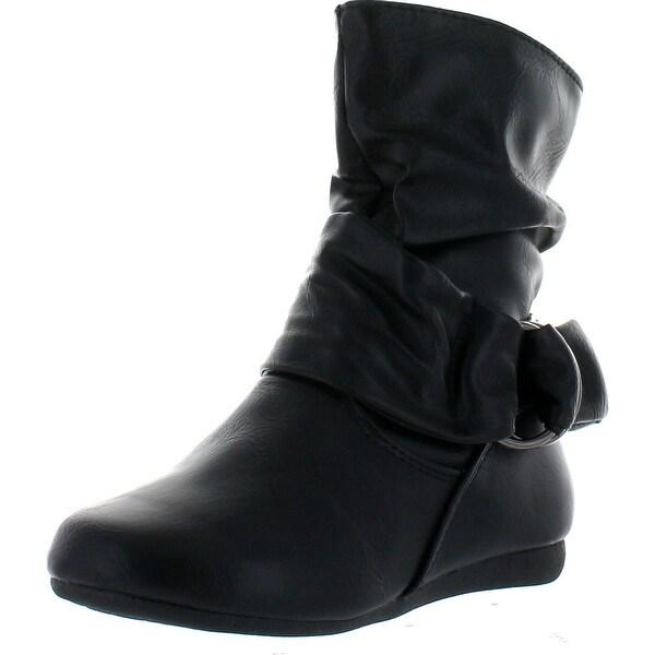 Link Selena-68K Children Girl's Comfort Ring Deco Flat High Top Ankle Booties
