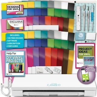 Silhouette Cameo 3 Die Cutting Machine Jumbo Bundle 50 Sheet Oracal Vinyl Tool Design