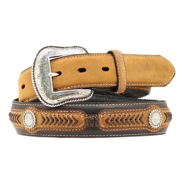 Nocona Western Belt Mens Leather Arrow Overlay Tan Black