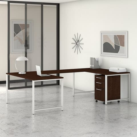 400 Series 60W U Desk with File Cabinet by Bush Business Furniture