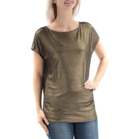 RALPH LAUREN Womens Gold Glitter Short Sleeve Jewel Neck Party Top Size: S