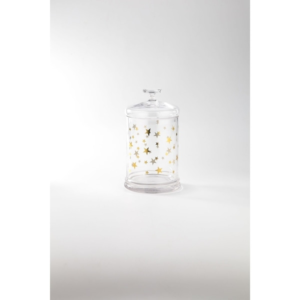 """9.5"""" Clear and Gold Star Printed Glass Jar with Lid - N/A"""