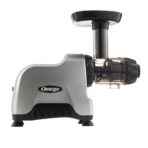 Omega Juicers CNC80S Compact Slow Speed Multi-Purpose Nutrition Center HD Juicer, Silver & Black