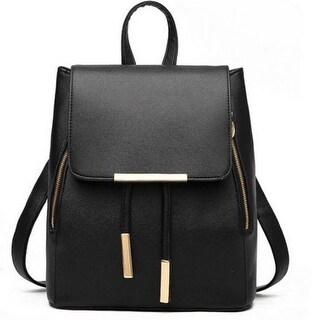 Vegan Leather Small Flap Travel Backpack: 8 Colors BP-01 - Black
