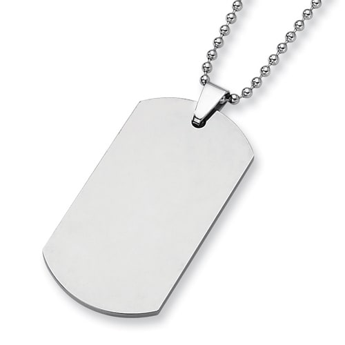 Chisel Tungsten Carbide Dogtag (2.0in) on 24 Inch Steel Bead Chain (2 mm) - 24 in