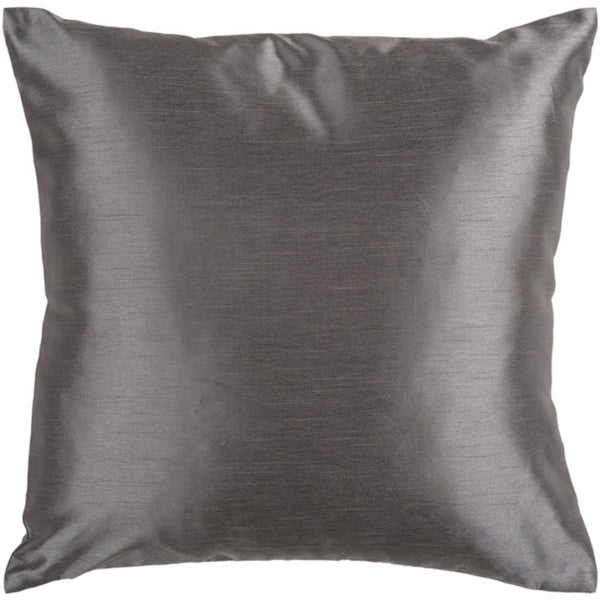 "18"" Shiny Solid Charcoal Gray Decorative Throw Pillow"