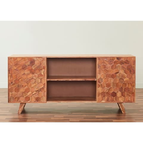 Honeycomb Solid Hardwood 66-inch TV Unit in natural finish
