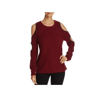 Alison Andrews Womens Pullover Sweater Cold Shoulder Faux Leather