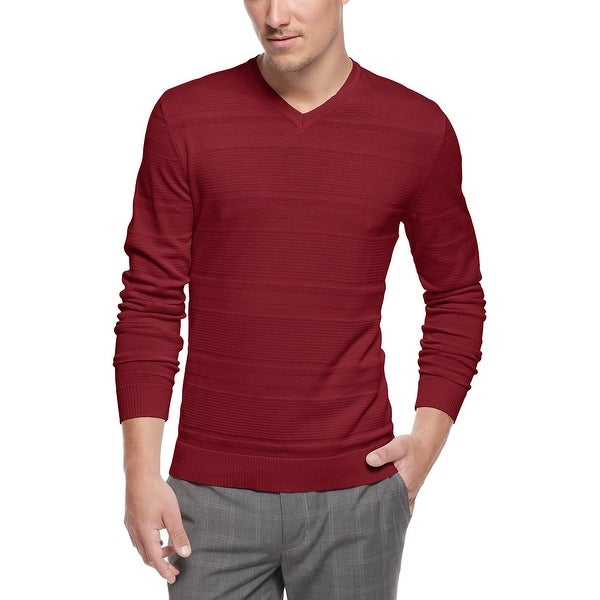 Alfani Red Label Slim Fit Texture Stripe V-Neck Sweater Port Burgundy