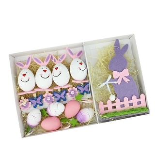 Set of 16 Pink, Purple and White Easter Egg, Flower & Bunny Spring Decorations