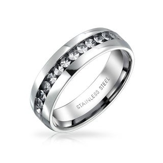 Bling Jewelry Clear Crystal Eternity Band Ring Stainless Steel