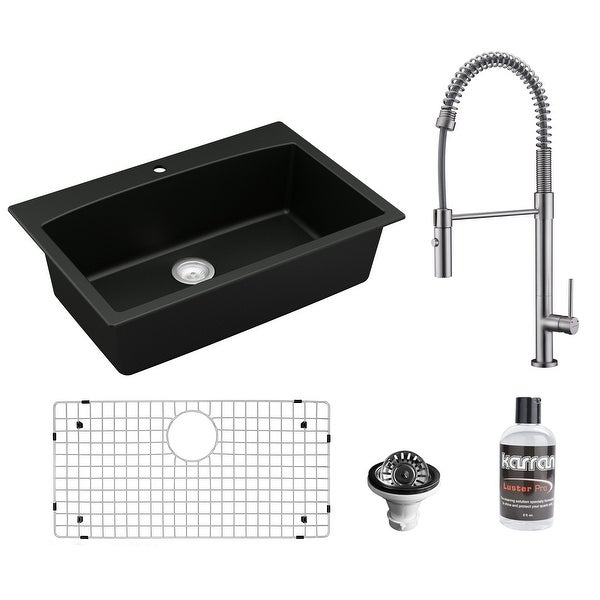 Karran All in One Drop-In Quartz Composite 33 in. Single Bowl Kitchen Sink in Black with Faucet KKF220 in Stainless Steel. Opens flyout.