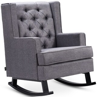 Costway Mid-Century Retro Fabric Upholstered Button-Tufted Wingback Rocking Chair Gray