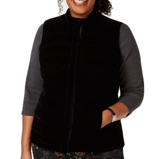 Link to Charter Club Women's Jacket Black Size 1X Plus Vest Full-Zip Velvet Similar Items in Women's Outerwear