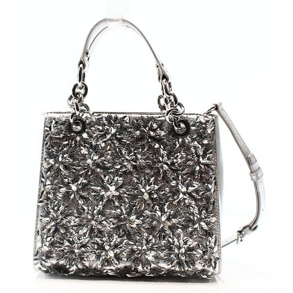 18cad271c0e3f4 Shop Michael Kors NEW Silver Floral Burst Leather Small Satchel Bag ...