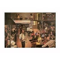 ''Jazz from the Cellar (mini)'' by Ernest Watson African American Art Print (10.125 x 13.625 in.)