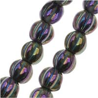 Czech Pressed Glass - Round Melon Beads 5mm Diameter 'Purple Iris' (50)