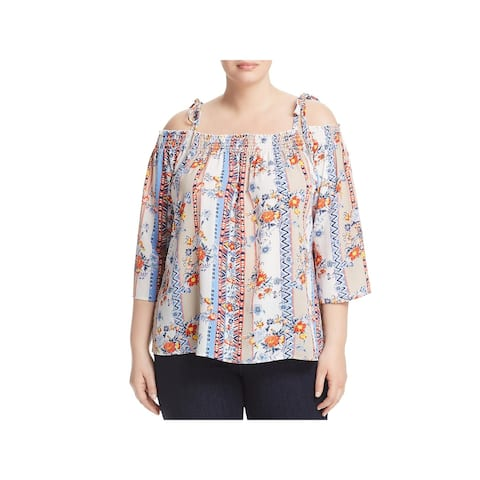 Status by Chenault Womens Plus Pullover Top Floral Cold Shoulder