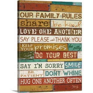"""Family Rules"" Canvas Wall Art"