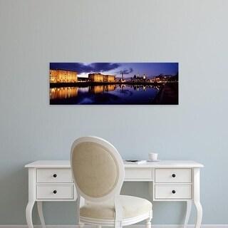 Easy Art Prints Panoramic Image 'Reflection of buildings, Albert Dock, Liverpool, Merseyside, England' Canvas Art
