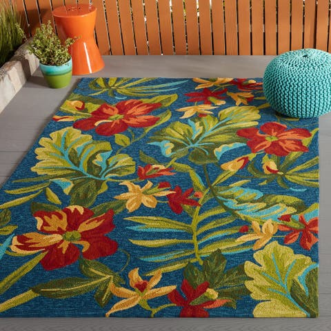 Miami Spiced Orchid Blue-Green Indoor/ Outdoor Rug