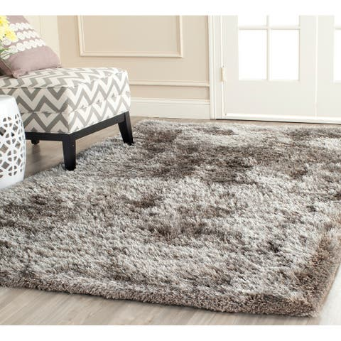 SAFAVIEH Handmade South Beach Leonella Shag Solid Polyester Rug