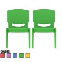 """2xhome - Set of Two 2- Green - Kids Size Plastic Side Chair 10"""""""