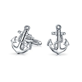 Bling Jewelry Rhodium Plated Vintage Mens Nautical Stocked Anchor Cufflinks Set