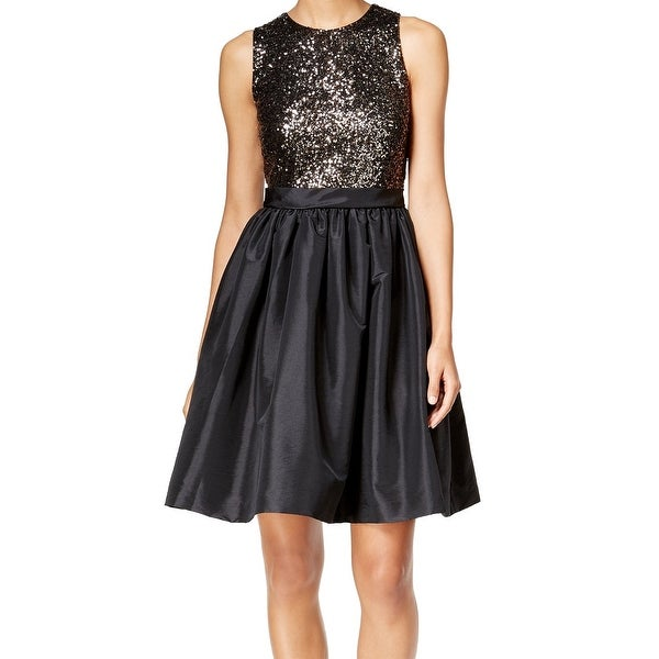 Calvin Klein NEW Black Gold Women's Size 12 Sequin Empire Waist Dress