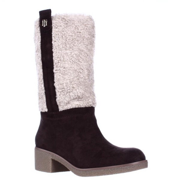 Tommy Hilfiger Ynez Faux Shearling Calf Snow Boots, Brown Multi