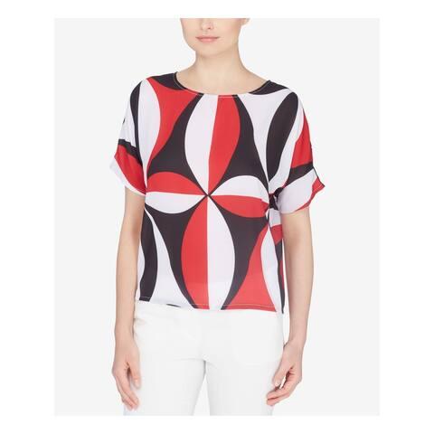 CATHERINE MALANDRINO Womens Red Printed Short Sleeve Top Size S