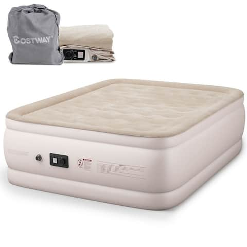 Costway Queen Size Luxury Quilt Top Raised Air Mattress Elevated