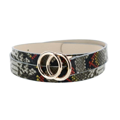 CTM® Women's Snake Print Belt with Circle Buckle - one size