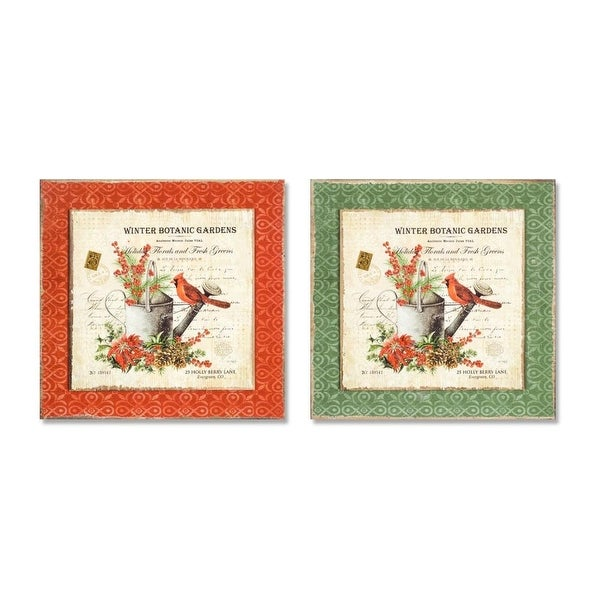 Pack of 2 Orange and Green Winter Botanic Gardens Wall Hanging Plaque 16""