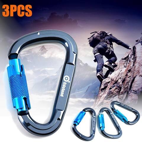 Heavy Duty D-Shape Climbing Carabiner Twist Locking Clip Rock Hook Buckle - S